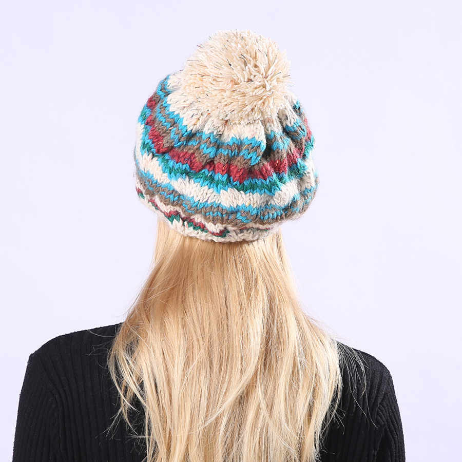 7b7225046f2 ... 2019 NEW Hat Brand Cable Knitted Bobble Hat Plain Mens Womens Beanie  Warm Winter Pom Wooly ...
