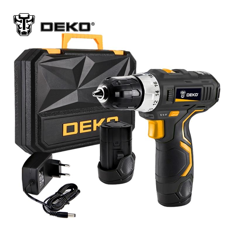 DEKO GCD12DU3 de 12 voltios Max DC batería de iones de litio 3/8-2 pulgadas de velocidad eléctrico Taladro Inalámbrico Mini destornillador inalámbrico controlador de potencia