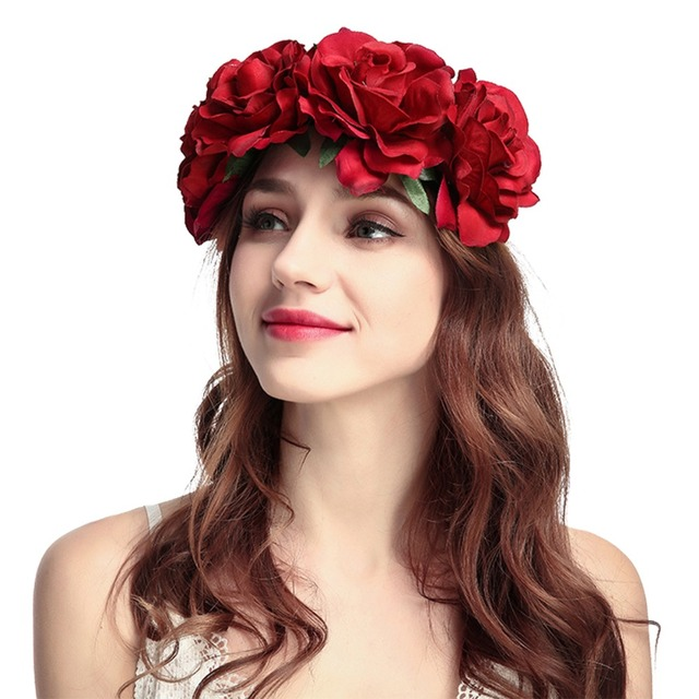 Rose Women s Boho Floral Headbands Handmade Crown Hairband Flower Party  Wedding Hair Wreaths Hair Accessories 171d1ad58b3