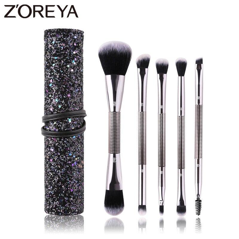 Zoreya Brand Double Head Makeup Brushes Eye Shadow Lip Make Up Tools Cruelty Free Blending Powder Foundation Cosmetic Brush