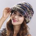 2016 Women's Fashion Natural Knitted Rex Rabbit Fur Hats Female Genuine Winter Women Fur Caps Lady Headgear Beanies#H9002