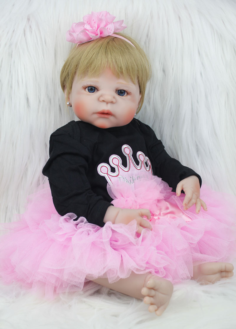 55cm Full Body Silicone Reborn Baby Doll Toy 22inch Newborn Girl Princess Toddler Babies Doll Child Bathe Toy Birthday Xmas Gift-in Dolls from Toys & Hobbies    3