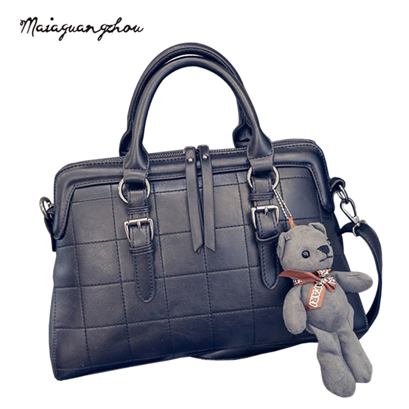 Maia New Arrival Women Totes With Little Bear Ling Plaid Women Bags 2017 Fashion High Quality PU Leather Crossbody Female Bag