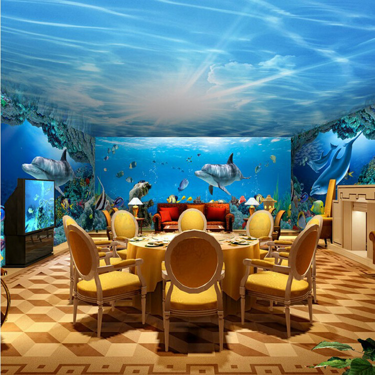 aliexpresscom buy underwater world sea wall wallpaper mural dolphin fish cartoon diy restaurant wall decoration 3d ceiling murals wallpaper from reliable - Underwater World Restaurant
