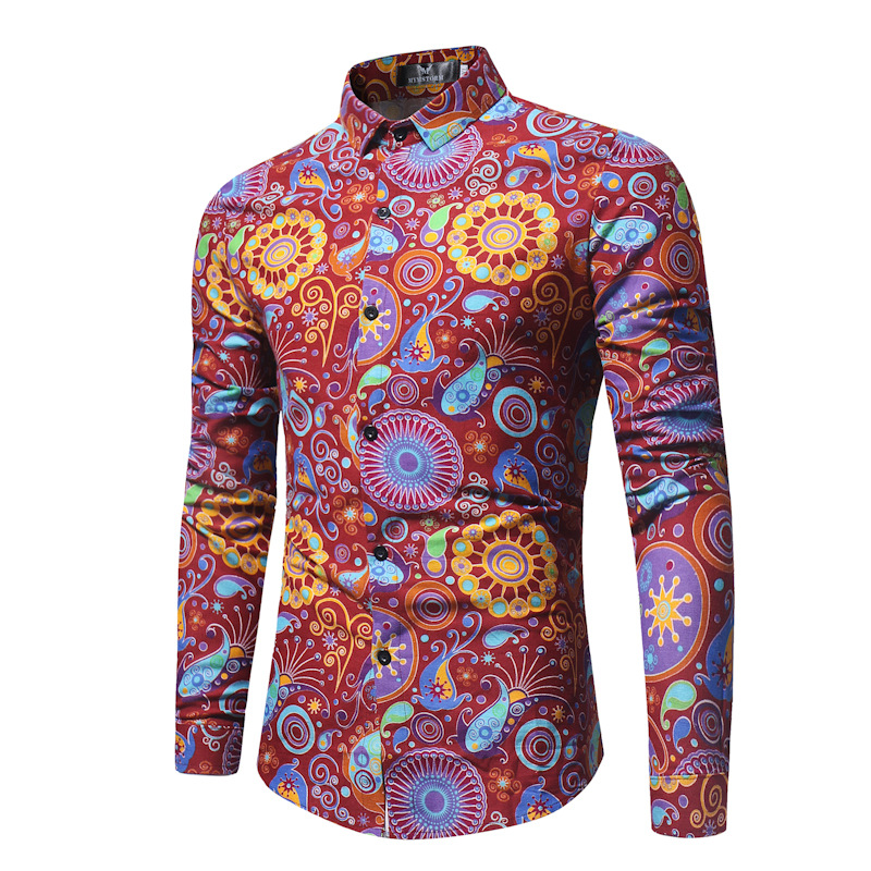 2018 men colour fashion floral long-sleeved shirt Tropical printed shirts