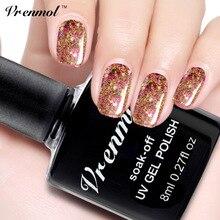 Vrenmol 8ml Professional Diamond Glitter Vernis UV Nail Gel Polish Soak Off Golden French Manicure LED Art Design Gel Lacquer