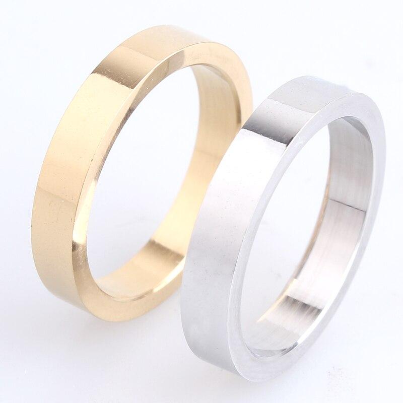 Гладкие кольца из нержавеющей стали 316L для мужчин и женщин, толщиной 4 мм, золотистого/серебристого цвета|finger ring|ring forrings for men | АлиЭкспресс - Украшения до 300 руб