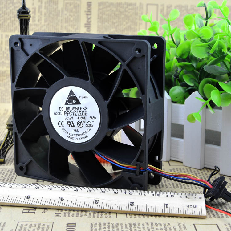 Free Shipping  PFC1212DE 120*120*38 mm 12038 1238 12CM DC 12V 4.80A server inverter cooling fan delta 12038 fhb1248dhe 12cm 120mm dc 48v 1 54a inverter fan violence strong wind cooling fan
