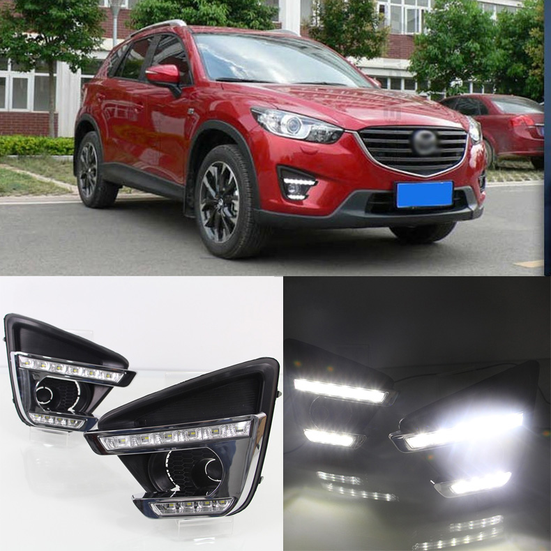 Ownsun Brand New Updated LED Daytime Running Lights DRL With Black Fog Light Cover For Mazda CX-5 2012-2016 цена и фото