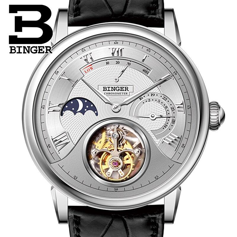 Switzerland BINGER Watches Men Brand Luxury Seagull Automatic Movement Watch Male Alligator Hide Tourbillon Mechanical B80801-1