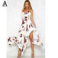 2017 Red Floral Print Ruffles Chiffon Long Dress Women Strap V Neck Split Beach Summer Dress