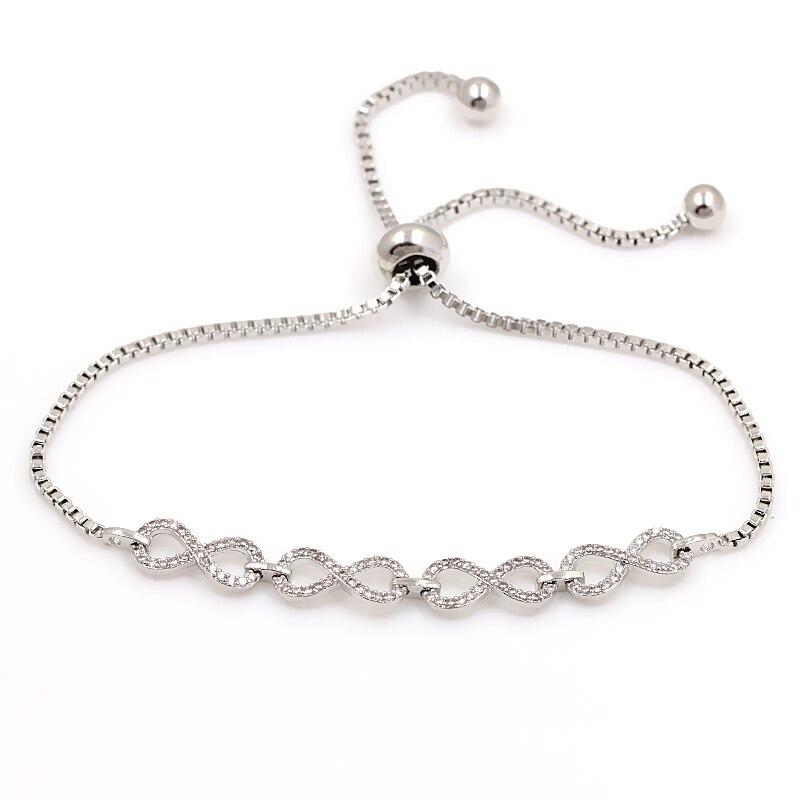 Mousseux Nombre 8 Infinity Cubique Zircone Cristal Réglable Cordon Curseur Bracelet pour Femmes ou De Mariage