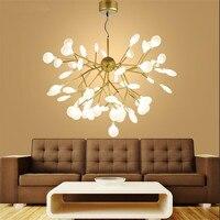 Современные Дерево листьев Дизайн люстры подвесные светильники Золотой Акрил подвесные лампы для Спальня светодио дный блеск Hanglamp светиль