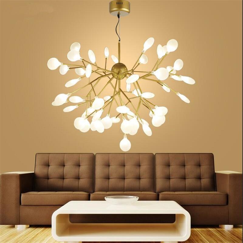 Moderne Baum Blatt Design Kronleuchter Hängen Lichter Gold Acryl schatten Anhänger Lampen Für Schlafzimmer Led Lustre Hanglamp Leuchten