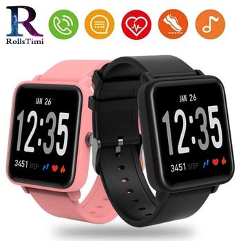 RollsTimi bluetooth SmartWatch 2.5D LED Curved Glass Pedometer Fitness Tracker Blood pressure monitor Waterproof Smart watch men