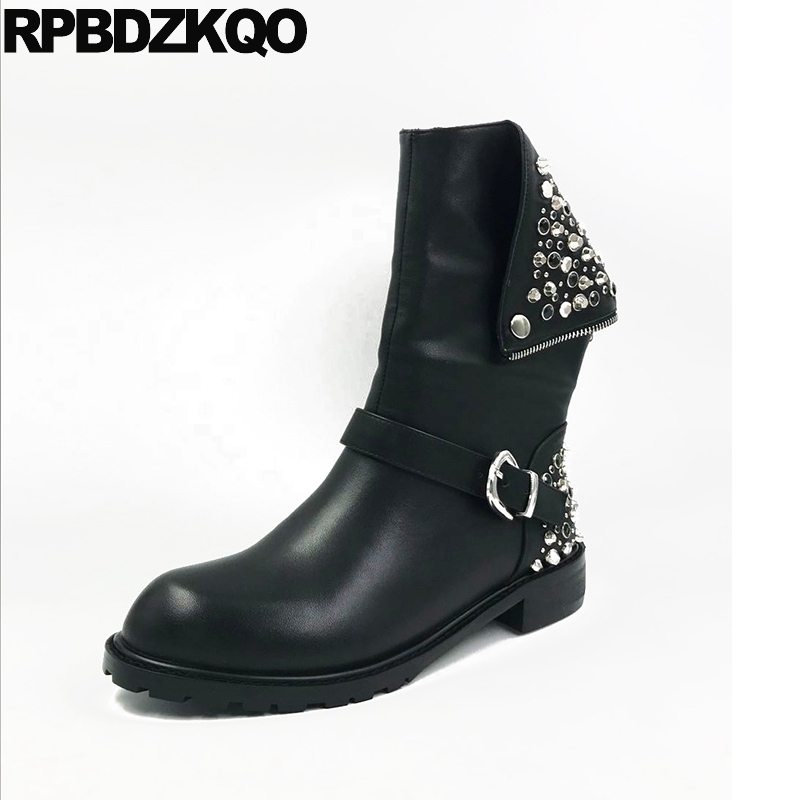 Designer Biker Stud Chunky Rivet Shoes Mid Calf Wide Women Genuine Leather Punk Rock Boots Celebrity Black Female Fashion Ladies women white brogue stud shoes british style metal flats rivet fashion oxfords black designer spring autumn punk rock belts zip