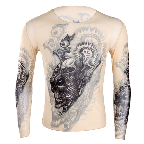 a501e8a4dbf4f US $7.99 10% OFF|Autumn Fashion Mens t shirt Fake Tattoo Design Elastic See  Through Full Long Sleeve O Neck T Shirt for Men's Halloween Clothing-in ...