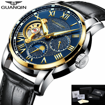GUANQIN automatyczny zegarek mężczyźni luksusowe 2019 zegarki mechaniczne męskie Tourbillon szkielet mężczyzna zegar mężczyzna czarny mechaniczne zegarki B tanie i dobre opinie Bransoletka zapięcie 3Bar 22cm Biznes Ze stali nierdzewnej Mechaniczna Ręka Wiatr Automatyczne self-wiatr 13mm Okrągły