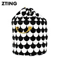 Baby Toys Canvas Storage Bags Black Scale Pattern Drawstring Pouch Kids Room Decoration Can Stand Diaper Bags Size 42X42cm