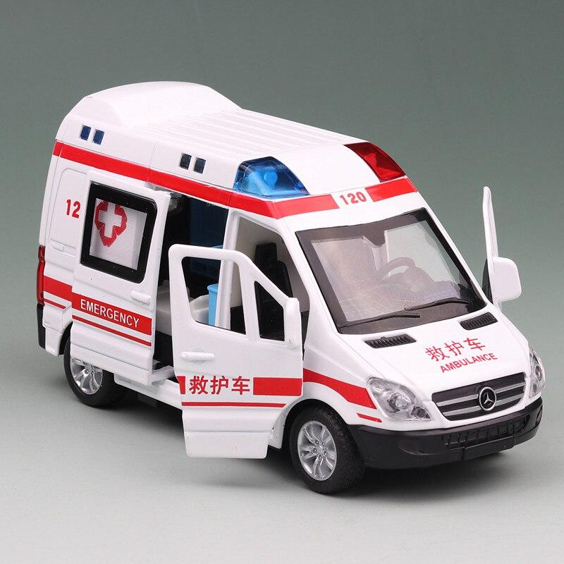 1:36 escala ambulancia Metal coche modelo Pull Back Hospital rescate vehículo niño Diecast aleación Auto juguetes con sonido y luz