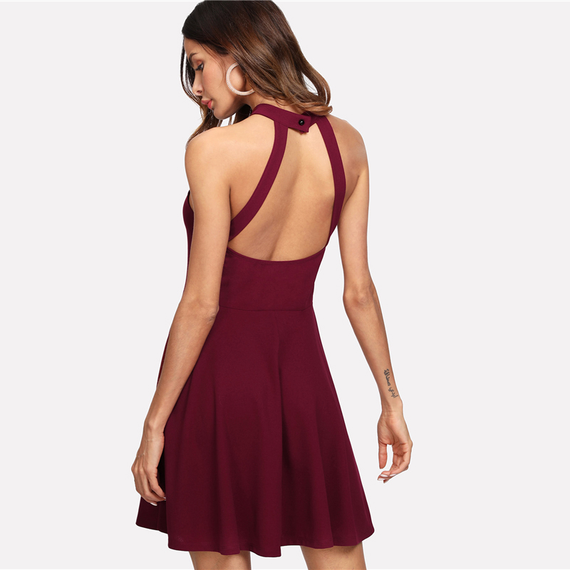 COLROVIE Burgundy Sexy Backless Mesh Sheer Halter Summer Dress 2018 High Waist A Line Women Dresses Fit And Flare Party Dress 6
