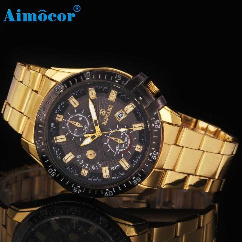 2017 Newly Designed Hot Relogio Masculino Luxury Mens Black Dial Gold Stainless Steel Date Quartz Analog Sport Wrist Watch 327