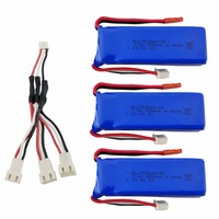 3PCS 7.4V 900mAh lithium battery with 1 to 3 charging converter for XK X520 XK X420 6 Channels brushless aileron 3D battery
