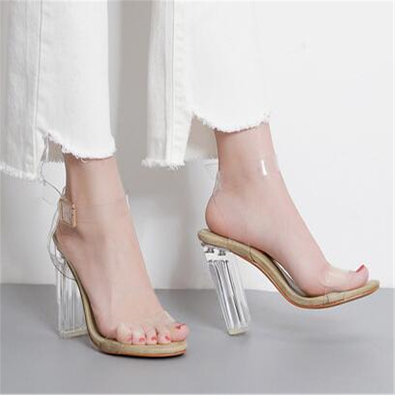2019 PVC Jelly Sandals Crystal Leopard Open Toed High Heels Women Transparent Heel Sandals Slippers Discount Pumps 11CM