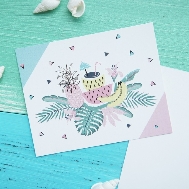 50pcs Mini Hello Summer Cool Color Pineapple Card Leave Message Cards Lucky  Love Valentine Christmas Party