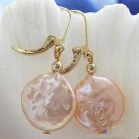 Elegant 100% Genuine Freshwater Pearl Dangle Earrings For Women,Top Quality 14mm Pink Coin Pearl Jewellery