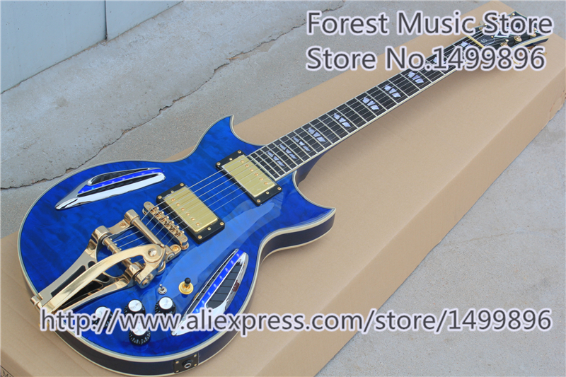New Arrival Chinese Glossy Blue Quilted Finish ES 335 Electric Guitar With LED Light As Picture new arrival nature wood grain finish wolfgang evh peavey guitars electric as picture