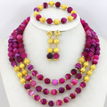 2015 Latest 3 Layers African Wedding Costume Jewelry Sets Nigerian Beads Bridal Neklace Jewelry Sets Free Shipping AIJ049