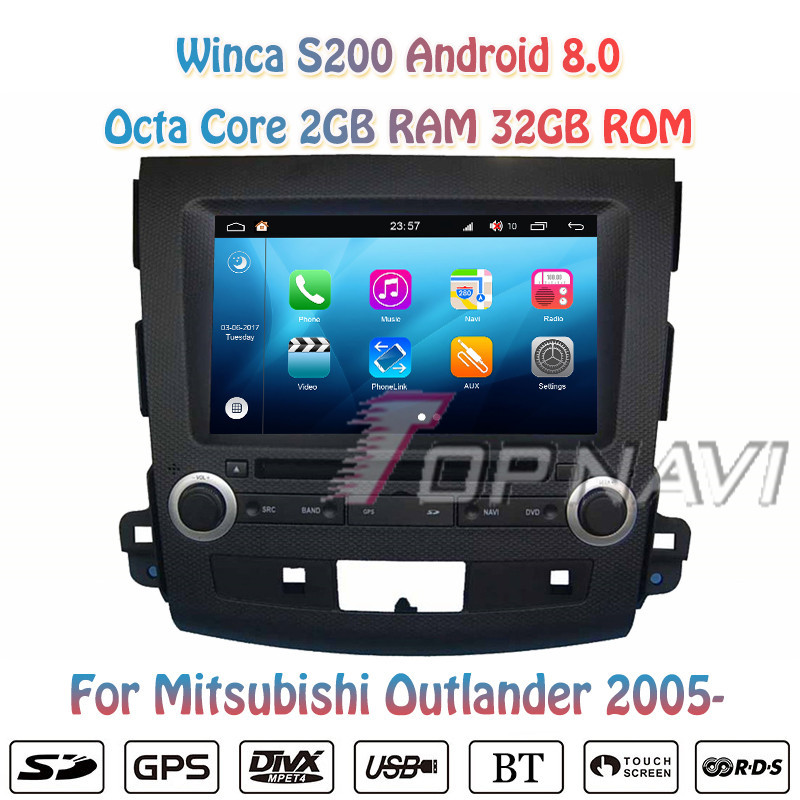 Topnavi 7'' Octa Core S200 Android 8.0 Car DVD Multimedia Player for Mitsubishi Outlander Audio Radio Stereo 2DIN GPS Navigation