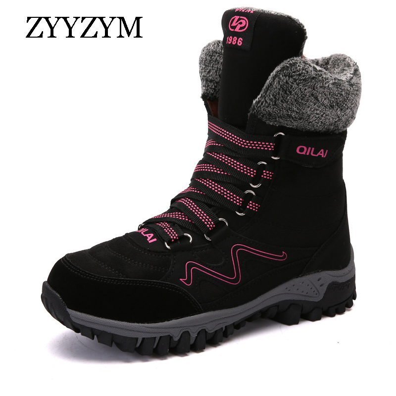 ZYYZYM Women Snow Boots Fashion Suede Leather Winter Warm Thickening Plush Woman Ankle Botas Mujer