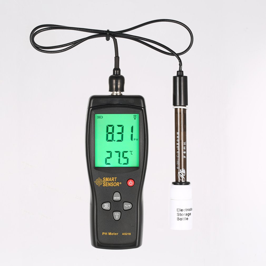 Smart Sensor AS218 Digital PH Meter Range 0.00~14.00pH Soil PH Tester Water PH Acidity Meter LCD Display Liquid PH MeterSmart Sensor AS218 Digital PH Meter Range 0.00~14.00pH Soil PH Tester Water PH Acidity Meter LCD Display Liquid PH Meter