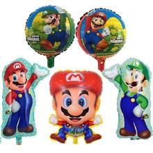 Cartoon Balloons Toy-Supplies Birthday-Party-Decorations Super-Mario-Series Kids Aluminum-Foil