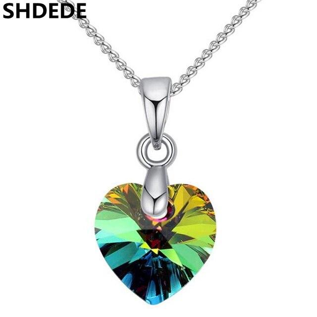 215b8b38d4ed9 SHDEDE Coração Pingentes Colares de Cristal de Swarovski Cor Prata Cadeia  Gargantilha para As Mulheres 2018