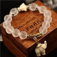 SEDmart Ethnic Matte Crystal Elephant Charm Bracelet For Women Antique Silver Buddha Head Animal Bead Cultural Bracelet Jewelry