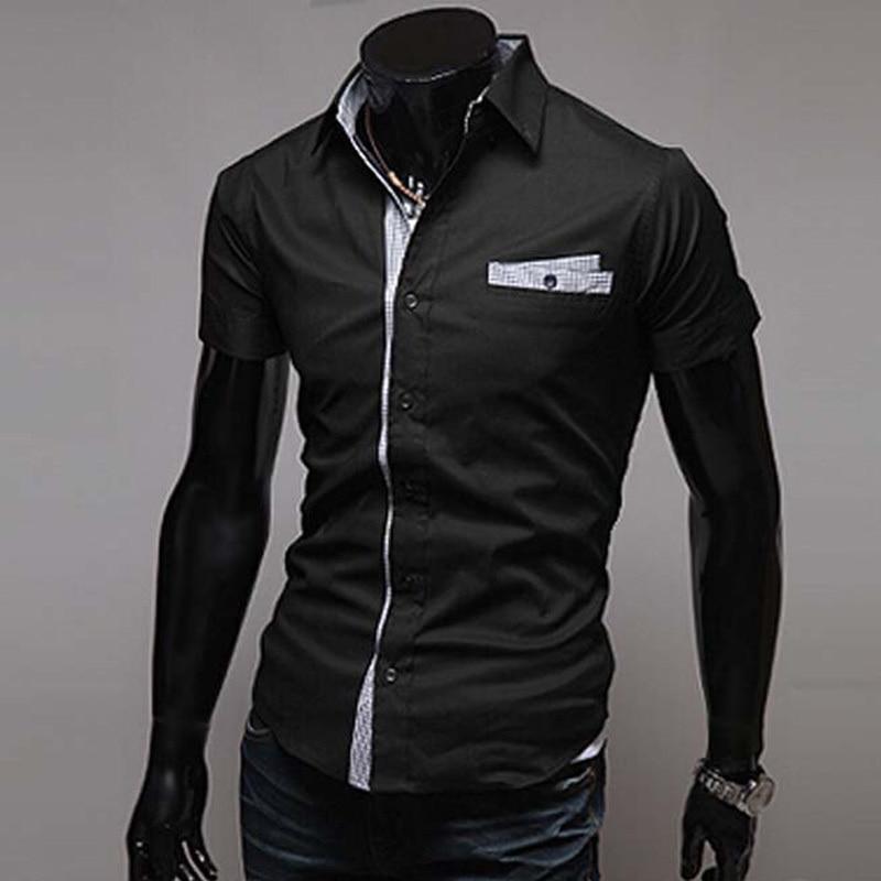 Aliexpress.com : Buy 2015 Fashion Spell Color Men Shirt Short ...