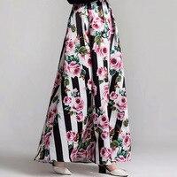 2018 ניו אירופאית הדפסה די נשים חמות באיכות גבוהה חצאיות ארוכות חצאיות גדולה נדנדה מתוקה באורך רצפה דקה נקבה
