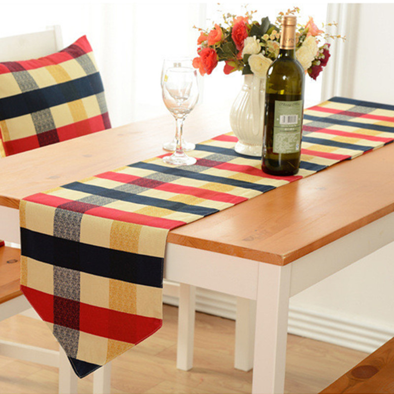 English Style 2 Color Pure Cotton Plaid Table Flag Cloth Dust Cover End Of  Bed Table