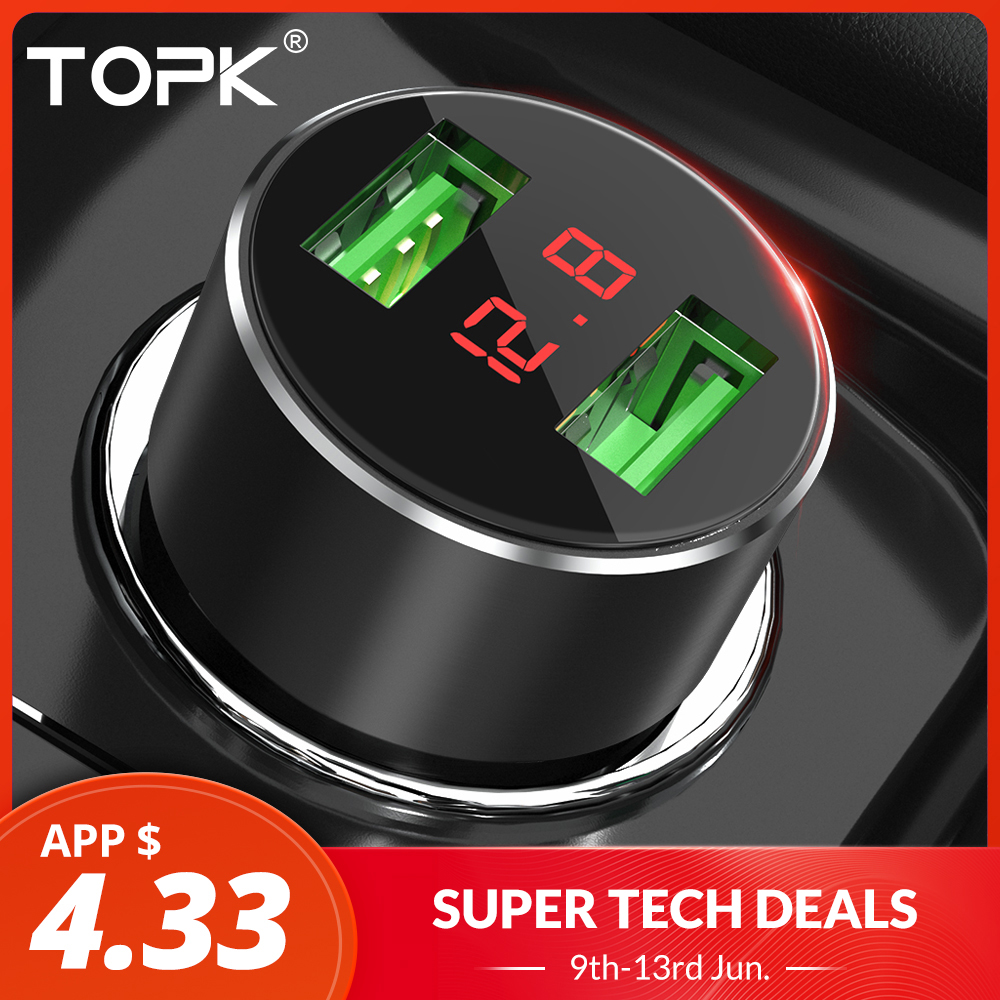 TOPK G209 Digital Display Dual USB Car Charger for iPhone Xs Max Samsung Xiaomi 3.1A Voltage Monitoring Car Charger For PhoneTOPK G209 Digital Display Dual USB Car Charger for iPhone Xs Max Samsung Xiaomi 3.1A Voltage Monitoring Car Charger For Phone