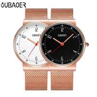 Watch Men OUBAOER Luxury Top Brand Fashion Casual Quartz Watch Male Luxury Rose Gold Mesh Stainless