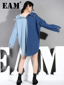 Irregular-Shirt Women Blouse Blue EAM Fashion Denim Spring Long-Sleeve Loose Autumn Big-Size