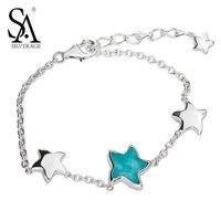 SA SILVERAGE New Echt 925 Sterling Silber Türkis Armband sterne armband silber 925 schmuck frauen hochzeitsgeschenk mit box