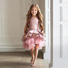 High Quality High Low Lace Ruffle Flower Girl Dresses 2019 Girls Pageant Dress Short Front and Long Back Dress for Girls vestido girls ruffle knot back mesh overlay dress