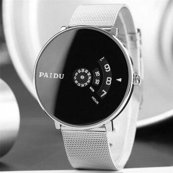 PAIDU Â�リエイティブ腕時計ステンレススチールバンド時計男性ユニセックスホワイト/ダイヤルクォーツ数字ディスプレイラウンドダイヤル時計