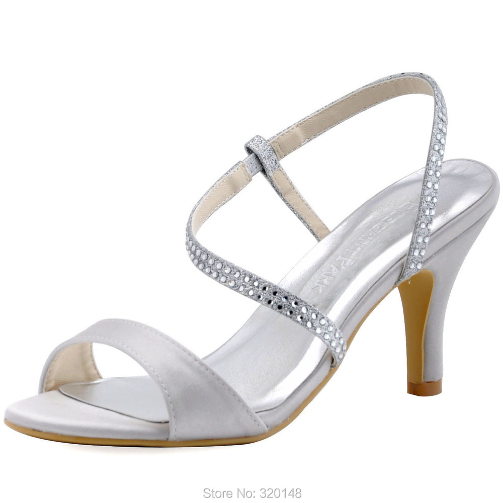 59cfb451ca03c7 HP1531 Women Summer Sandals Silver Size 8 Satin Glitter High Heel Evening  Party Strap Sandals Woman Wedding Shoes