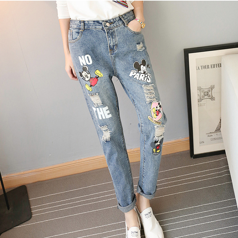 Fashion Youth Mickey Mouse Jeans Printed Distressed Boyfriend Jeans Ripped Jeans For Women Plus Size Destroyed Denim Pants New