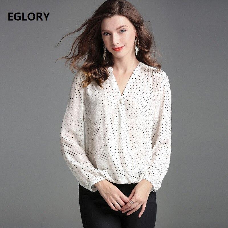 Manches Femmes Broches Top Retour Chemise Dot Polka Style Col Shirt Blouses Soie À Plissée Longues 2019 Printemps 100National V Imprimer Avec dtsrChQx